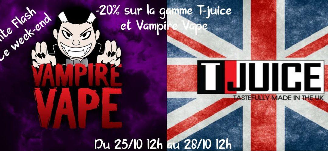 Vampire Vape & T-Juice – Vente Flash – Vape discount -20% sur les best seller