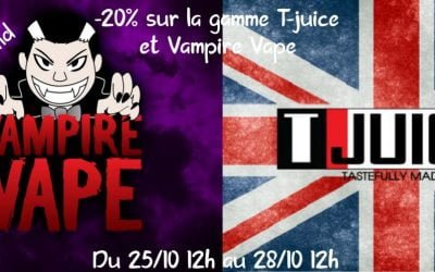 Vampire Vape & T-Juice – Vente Flash – Vape discount -20% sur les best seller